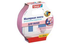 Малярная лента розовая TESA для деликатных поверхностей 25 мм